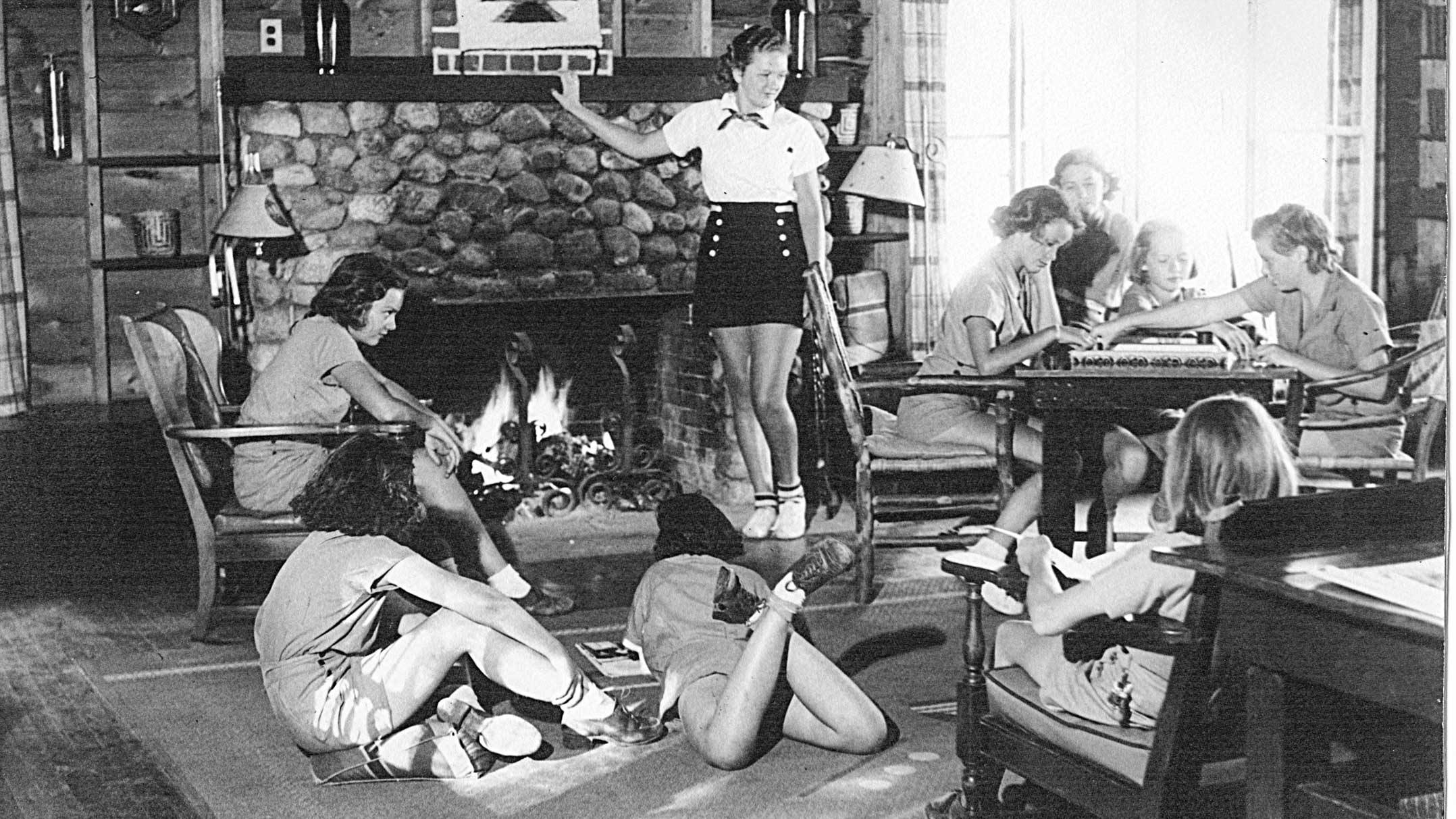 Clearwater campers at Clear Lake cabin in 1937