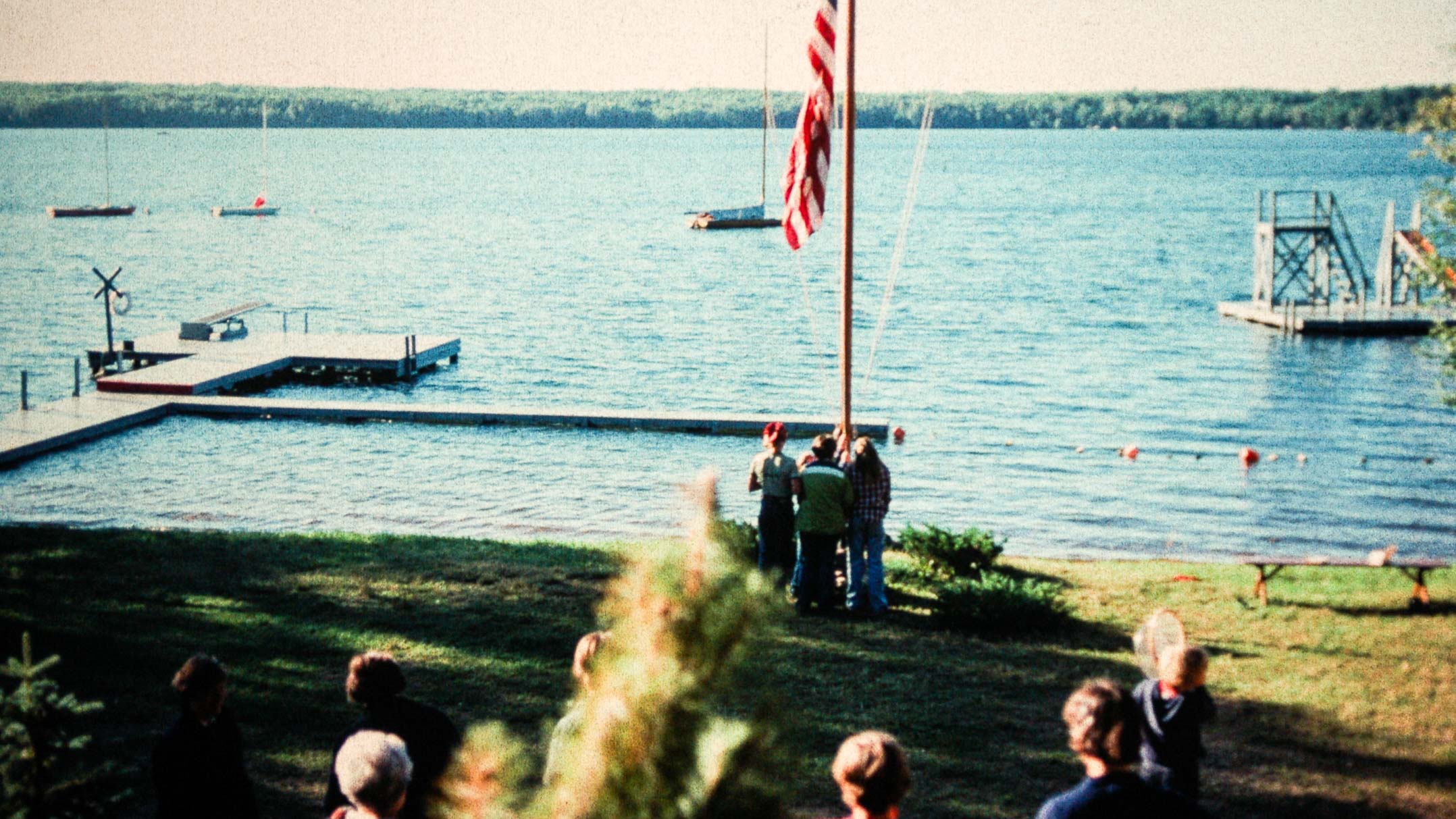 1977 flag raising at on Clearwater Camp lawn