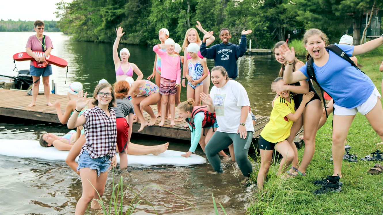 Group of campers cheer at Cape Party