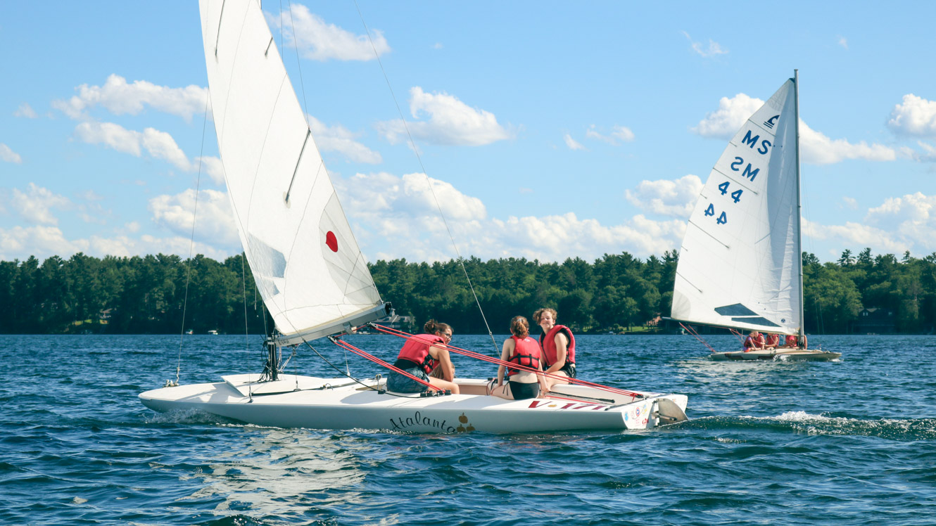 Campers on two sailboats