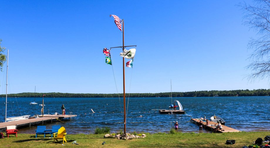 Clearwater Camp flagpole and waterfront