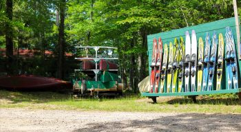 Racks of canoes and waterskis