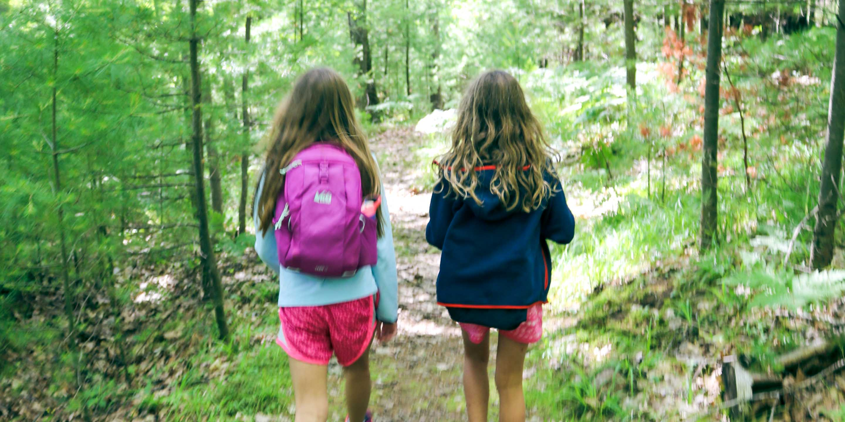 Young campers walk down trail on day hike